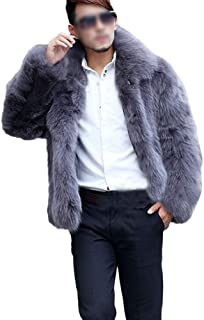 GuoCu Mens Faux Fox Fur Coat Thick Faux Fur Jacket Blazer with Lapel Collar Casual Winter Warm Coat Long Sleeve Parka Jack...