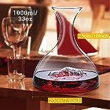 Decanter,Baban Wein Dekanter, 1L Rotwein Bleifreies Glasdekanter, Dekantiergefäß Glasbelüftungsweinkaraffe, Perfektes Geschenkset Dekantierer für Weihnachten Weinliebhaber - 3