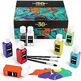 Magicfly Colori per Tessuti Permanenti, Set di 30 Colori Stoffa (60ML) Vernice Pittura per Tessuti Lavabili in Lavatrice e Asciugatrice, Abiti, Magliette, Jeans, Borse, Tela, con 3 Pennelli