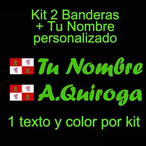 Vinilin - Pegatina Vinilo Bandera Castilla y León + tu Nombre - Bici, Casco, Pala De Padel, Monopatin, Coche, etc. Kit de Dos Vinilos (Verde)