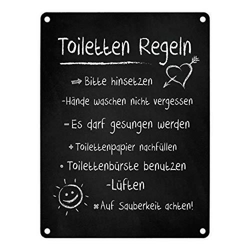 trendaffe - Toilettenregeln Blechschild in 15x20 cm - Metallschild Dekoschild