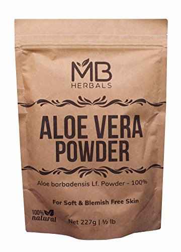 MB Herbals Aloe Vera Powder 227 Gram | 8 oz | 0.5 lb | 100% Pure & Organically Cultivated Aloevera Powder | Natural Skin Moisturizer | Controls Blemish Acne Pimples & Fine Lines | EXTERNAL USE ONLY
