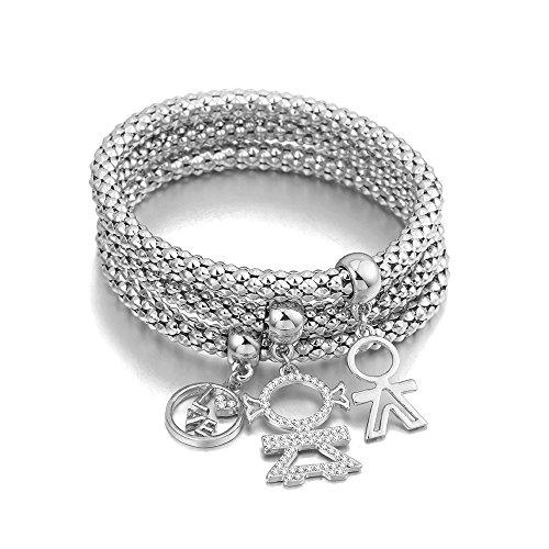 Braccialetto di fascino per le donne, Bracciale a catena di mais allungato Braccialetto in oro o argento per amicizia (Placcato argento)