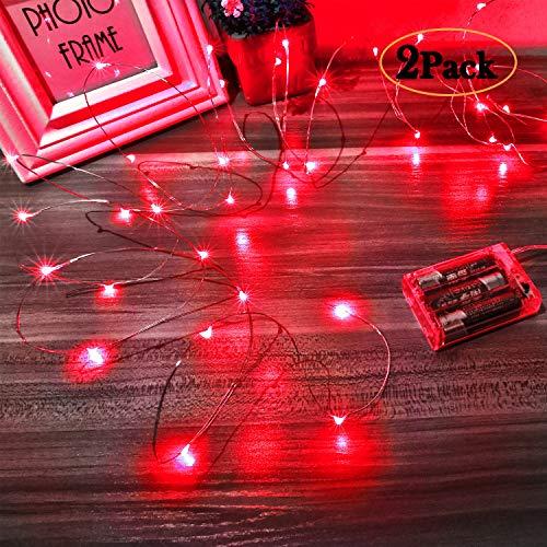 Ariceleo Led Stringa Luci a Batteria, 2 Pezzi 5 metri 50 Led Rame filo Ghirlanda Catena Luminose Lucine Fata Luci per Natale Matrimonio Decorative Festa Interno Natalizie letto Camera (Rosso)