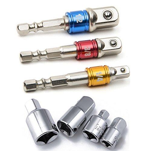 HXLONG Akkuschrauber Stecknuss Adapter Steckschlüssel Nuss Set 3-tlg 1/4 3/8 / 1/2 Zoll und Stecknuss Adapter 4-tlg 1/4 auf 3/8 - 3/8 auf 1/4 Zoll - 3/8 auf 1/2 - 1/2