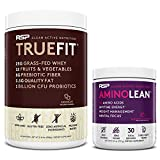 TrueFit Protein Powder (Chocolate 2 LB) with AminoLean Pre Workout Energy (BlackBerry Pomegranate 30 Servings)