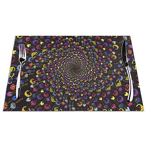 Manteles individuales tejidos, con forma de seta en espiral, color desteñido, antideslizante, lavable, para comedor, cocina, decoración de mesa de 30,5 x 45,7 cm