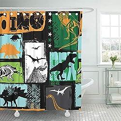 6. Emvency Dinosaur Original Grunge Design Shower Curtain
