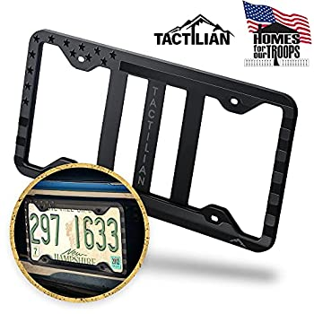 Silicone American Flag License Plate Frame Holder - Subdued 3D Stars and Stripes USA Flag Gloss on Matte for Car Truck and SUV