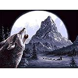 Kit de Pintura por números DIY Pintura al óleo para Lienzo Adultos/Niños Lobo claro de luna Lienzo con Pinceles y Acrílica Pinturas para pared decor Arte Navidad Regalos (Sin marco,60x75cm/24x30inch)