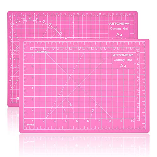 """ASTONBAY A4 Size Pink Cutting Mat, Self Healing Pad for Sewing Table, Double-Sided PVC Desk Ruler Board for Rotary Cutting, Sewing Fabric, Quilting, Crafting, Painting, 12""""x9"""", Metric and Imperial"""