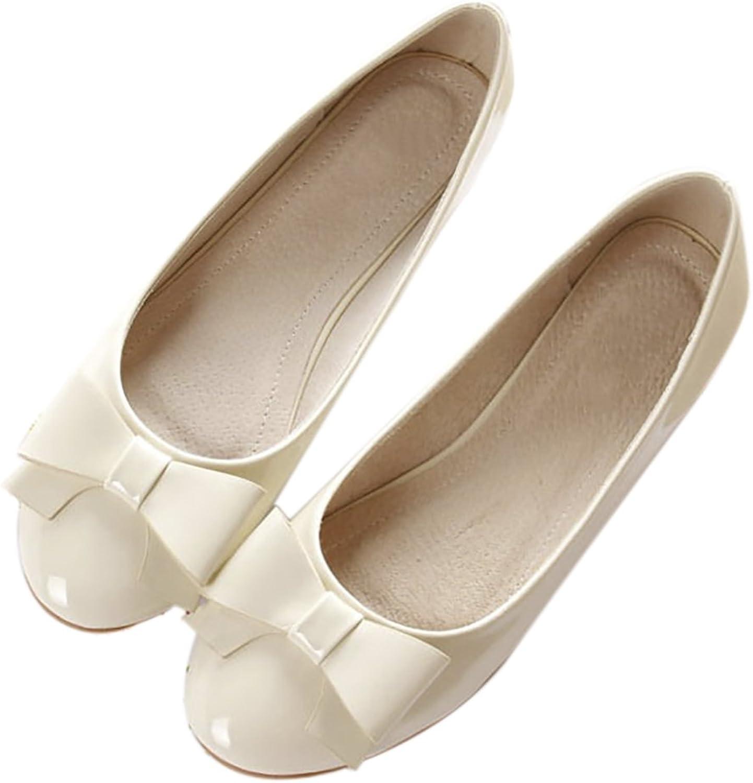 QZUnique Women's Classic Round Toe Ballet PU Leather Slip On Flats shoes Bowknot