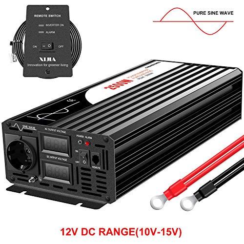 XIJIA 2500W (Picco 5000W) Pure Sine Wave Inverter DC 12V a AC 230V 50Hz Solar convertitore per Uso Domestico Auto (DC12V (Gamma10V-15V) 2500W)