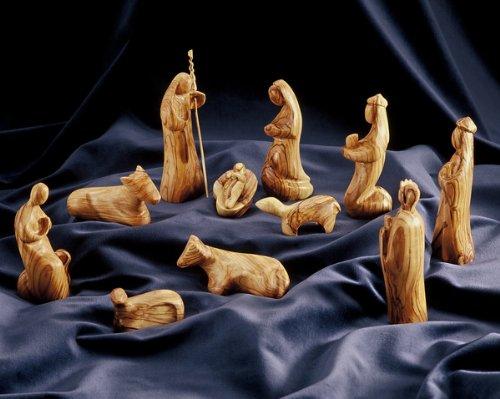 Figura Santa Krippenfiguren MODERNER Stil. Höhe 13 cm. 11-teiliges Krippenspiel. In Bethlehem handgeschnitzt aus Olivenholz. Komplett oder in Teilgruppen erhältlich.