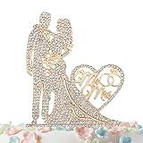 Mr and Mrs Cake Topper Rhinestone Crystal Metal Love Wedding Cake...