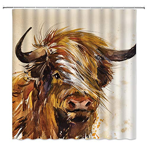 Highland Cow Shower Curtain Abstract Watercolor Farm Animal Portrait of Yak Longhorn Funny Farmhouse Rustic Bathroom Fabric Decor Curtain 70 x 70 Inch with Hooks,Brown