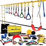 NINJACTIVE Ninja Slackline Warrior Obstacle Course for Kids with 4 Play Modes, 2 Slack Lines - 2x56' Weatherproof Ninja Course with 12 Attachments Like Swing, Arm Trainer - Durable Outdoor Course