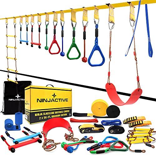 NINJACTIVE Ninja Line Warrior Obstacle Course for Kids with 4 Play Modes, 2 Slack Lines - 2x56' Weatherproof Ninja Slackline Kit with 12 Attachments Like Swing, Arm Trainer - Ninja Course for Kids