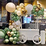 Balloon Garland kit Arch Sage Green Decor Olive Green And Gold White Birthday Party Decorations Baby Shower