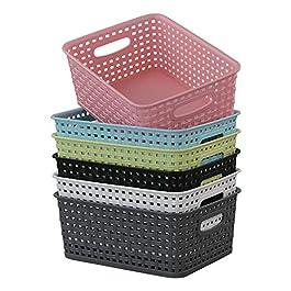 Rinboat Muti-Colour Rectangle Plastique en rotin tressé Tissage paniers étagère de Rangement, Lot de 6