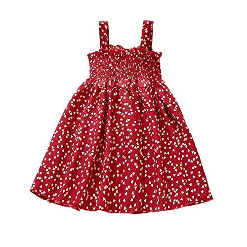 Geagodelia Vestido de verano para niña, con estampado de flores, para la playa, para niñas Estilo M. 5-6 Años