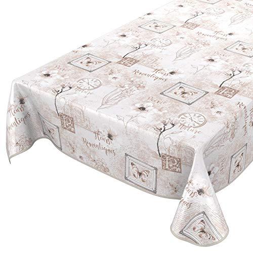 ANRO Tischdecke Wachstuch abwaschbar Wachstuchtischdecke Wachstischdecke Romantik Beige 100x140cm mit Saum - Eingefasst