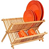 Home Intuition Folding Bamboo Dish Drying Rack Dryer Luxury Wood