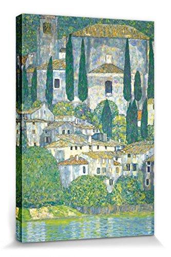 1art1 Gustav Klimt - Kirche In Cassone Am Gardasee, 1913 Bilder Leinwand-Bild Auf Keilrahmen | XXL-Wandbild Poster Kunstdruck Als Leinwandbild 120 x 80 cm