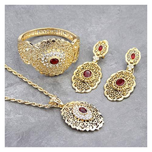 SFQRYP Marruecos Conjunto de Joyas de Boda Dorado Color Drop Pendiente Pulsera Pulsera Brazalete Collar Collar Árabe Hollow Regalo (Metal Color : 1358u482u2844red)
