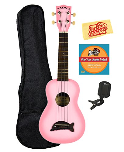 Kala MK-SD-PKBURST Makala Dolphin Soprano Ukulele - Pink Burst Bundle with Gig Bag, Tuner, Austin Bazaar Instructional DVD, and Polishing Cloth
