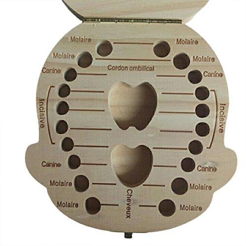 Chaud vendre ! Tefamore Organisateur de boîte à dents pour les dents de lait pour bébés Enregistrer la boîte de rangement en bois pour enfants (café, A)