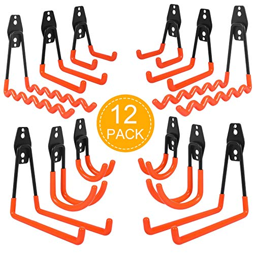 12 Pack naspaluro Garage Storage Hooks, 6 Size of Wall Mounted Utility Double Hooks, Heavy Duty Hooks for Ladders, Bikes, Hoses, Ropes, Bulk Items, Garden Farm Workbench Warehouse Tools Shed