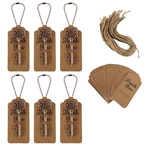 50Pcs Key Bottle Openers Wedding Favors Souvenirs Vintage Skeleton Key Bottle Opener with Tag Cards Party Supplies Beer Opener for Wedding Rustic Decoration
