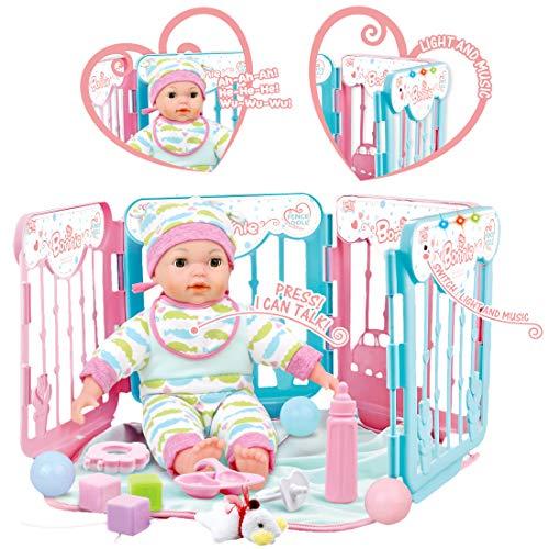 deAO Mi Primera Muñeca Bebé Interactiva Conjunto de Muñeca con Corralito y Accesorios Incluidos Característica Musical y Luces de Colores