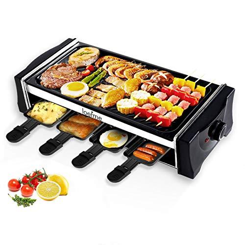 LOEFME Raclette Grill Elektrogrills mit Reversible Grillpfanne, Teppanyaki Grill für 8 Personen, Stufenlos Regulierbare Temperatur, Antihaftbeschichtung, 8 Mini Raclette Pfännchen zum Kochen von Käse