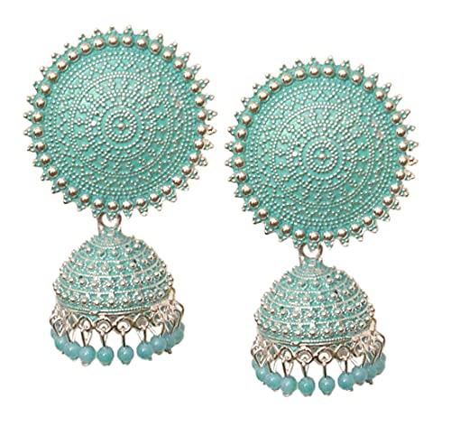 Pahal Jaipur - Pendientes de plata Jhumka, diseño de perlas de color turquesa y azul turquesa