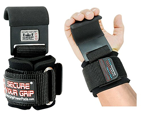 Heavy Duty PRO Metal Lifting Steel Hooks Best Power Weightlifting Set of 2 Premium Thick Padded Workout Hook Gloves (Men-Wrist Size Large, Black)