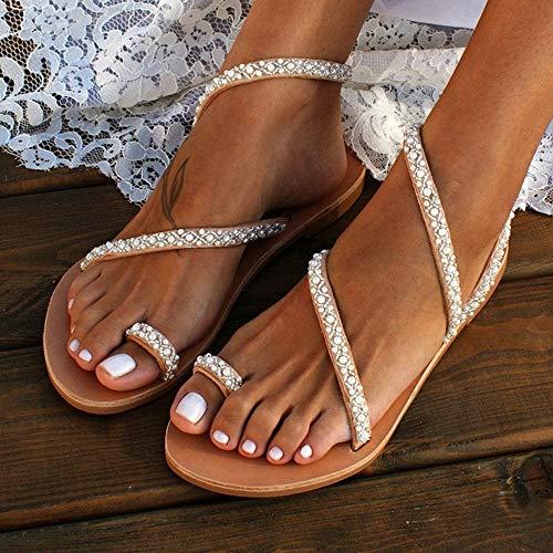 LYYJF Chanclas Sandalias Planas Sandalias de Mujer Zapatos Planos Sandalias con Perlas de Diamantes Romanos en la Playa de Verano Zapatos Abalorios Zapatos Fiesta Perlas Fondo Plano Sandalias,C1,39