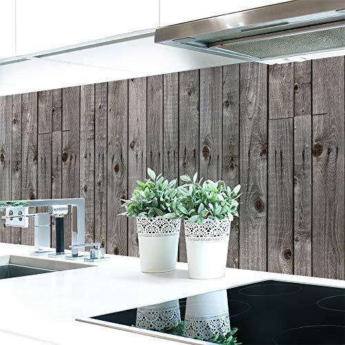 Küchenrückwand Holzwand Grau Premium Hart-PVC 0,4 mm selbstklebend - Direkt auf die Fliesen, Größe:Materialprobe A4