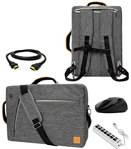 Gray 10' to 12-inch Convertible Laptop Bag, USB Hub, Mouse, HDMI Cable for Asus VivoBook, Chromebook, Transformer