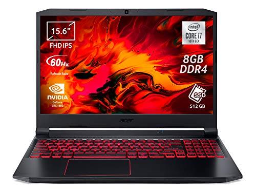 "Acer Nitro 5 AN515-55-74UA Notebook Gaming con Processore Intel Core i7-10750H, Ram 8 GB, 512 GB PCIe NVMe SSD, Display 15.6"" FHD IPS LED LCD, NVIDIA GeForce GTX 1650 4 GB, Windows 10 Home"