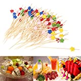 100 palitos de cóctel, brochetas de bambú hechas a mano de 4,7 pulgadas, palillos de dientes de bambú multicolor, suministros de fiesta de brochetas de madera