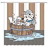 AMHNF Bathing Spotted Dog Shower Curtain Funny Cartoon Dalmatian Bathing in Bathtub with Bubbles Brown White Striped Child Kids Cute Animal for Pet Lover Bathroom Decor Fabric Curtains with Hooks