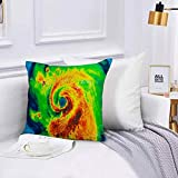 Funda de algodón,45 x 45 cm, ideales para casa, Daño Geocolor Ojo Huracán Irma Golfo Tormenta Clima Tornado extremo, oficina o para la espalda en el coche Fundas de para sofá con diseños creativos