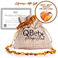 Amber Teething Set - QBebe - Amber Teething Necklace plus Bracelet/Anklet for Babies - Fit for Moms too - Certificated Baltic Amber - Teething Pain Reduce and Anti Inflammatory