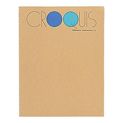 マルマン スケッチブック クロッキー帳 白クロッキー紙 ブルー SL-02 Lサイズ(356×268mm)