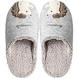 Linda erizo borrosa zapatillas mujeres, señoras casa zapatillas, cálido invierno zapatillas interior al aire libre antideslizante zapatos, color, talla 36/37 EU
