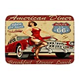 ADONINELP Felpudo Alfombras de baño,Route 66 American Diner Poster publicitario con Sexy Girl y Automobile Nostalgic,Alfombra de Entrada Antideslizante Alfombras de Puerta de Bienvenida
