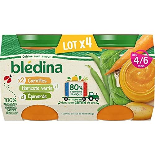 Blédina Petits Pots pour bébé, Dès 4/6 Mois, Carottes Epinards Haricots Verts, 12x130g (Lot de 3*4)