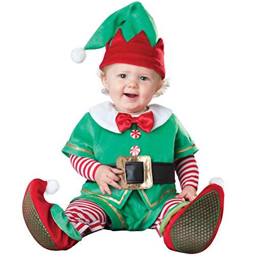 Odziezet Navidad Conjunto Bebé Niño Niña Papá Noel Elf Reno Muñeco de Nieve Ropa Disfraz 4 PCS Sombrero + Traje + Zapatos + Bufanda 0-2 años